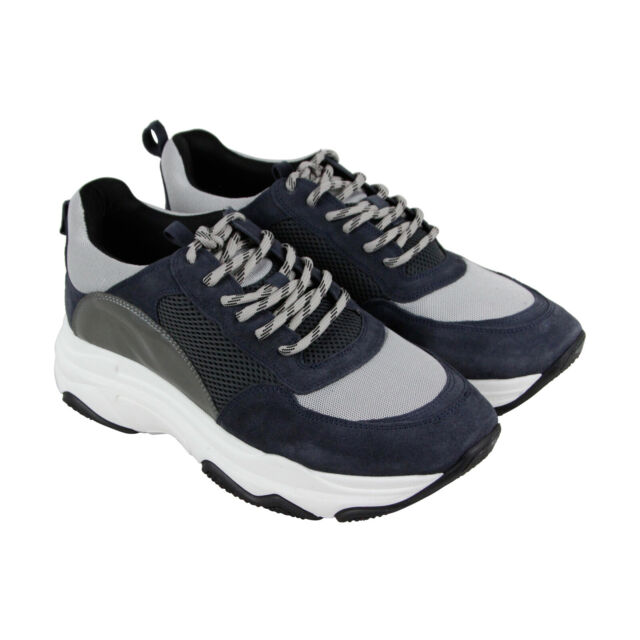 ef0d779463c Steve Madden Russell Mens Gray Mesh & Suede Low Top Lace Up Sneakers Shoes