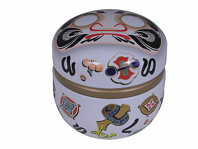 Japanese 100g White Good Lucky Wishes Daruma Tin Tea Canister, Made in Japan