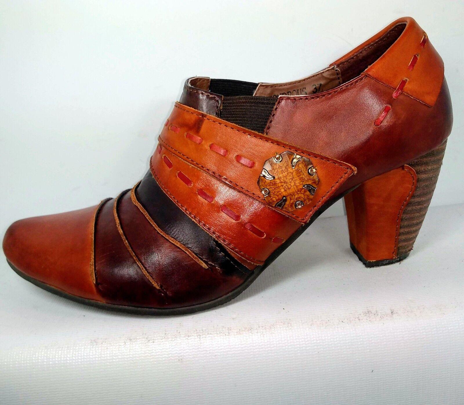 Spring Step Wondrous Brown Leather Bootie Women US 6.5   7 EU 37 Minimal Wear