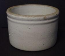 "Vintage Glazed Stoneware Crock 3"" Tall 4 1/2"" Diameter Gray Ceramic Old Pot Bowl"