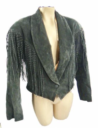 FRINGE black crop jacket suede leather XL vintage