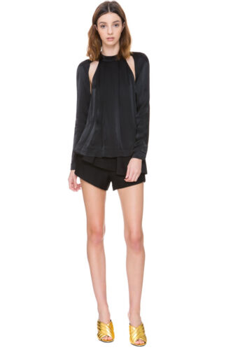 C//MEO Collective Can/'t Resist Long Sleeved Cut Out Silky Black Top Shirt