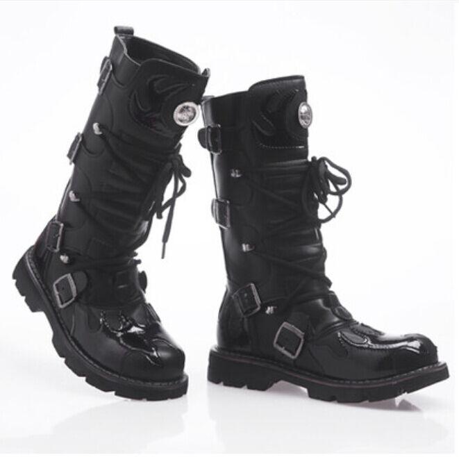 Con Cordones Punk para Hombre Punk Cordones Gótico Rodilla Alto Bota Militar De Motociclista Zapatos Negro f85762