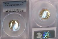 1987 S PCGS 1C One Cent PF70 PR70 RD DCAM PROOF 70 President Lincoln Penny -WOW!