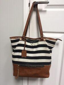 Call It Spring Black   White Striped   Tan Hand Bag Shoulder Tote ... 1e066e89702c1