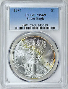 1986-1-Silver-Eagle-PCGS-MS69-Nicely-Toned-ASE
