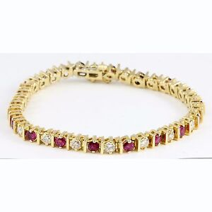 Image Is Loading 14k Yellow Gold Round Red Ruby Diamond Tennis