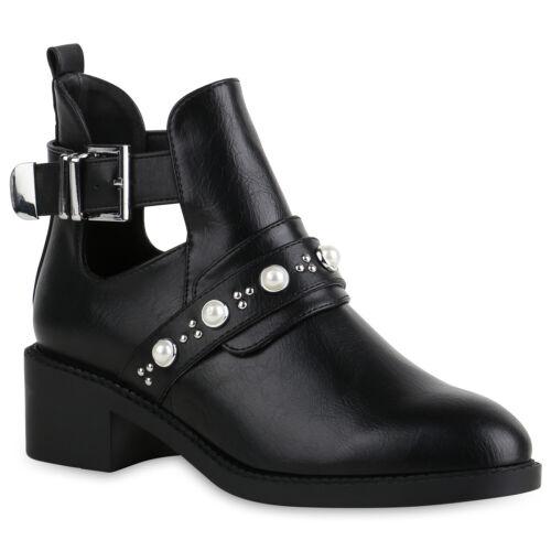 Damen Ankle Boots Nieten Stiefeletten Leder-Optik Booties 821364 Schuhe