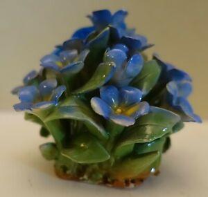 KK24 ITALY FLEURETTE HANDMADE BLUE VIOLETS FLOWER BOUQUET ...
