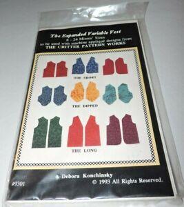 Sewing-Pattern-Expanded-Variable-Vest-Sz-8-24-Konchinsky-Critter-Pattern-Works