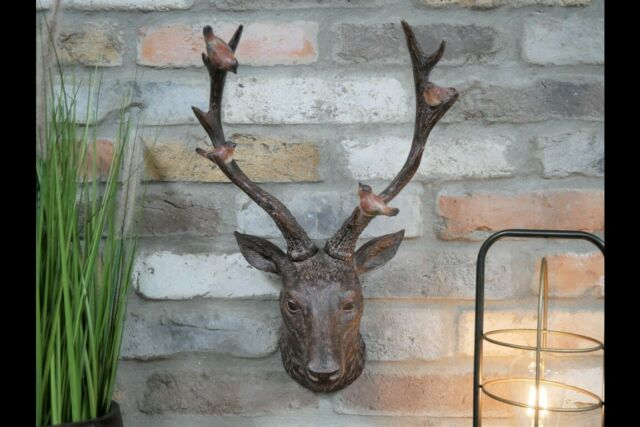 Deer Stags Antlers Head Wall Mounted Large Sculpture With Robins