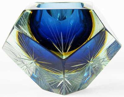 MURANO SOMMERSO GLASSCHALE mit Sternschliff - mehrfarbig - Poli / Seguso