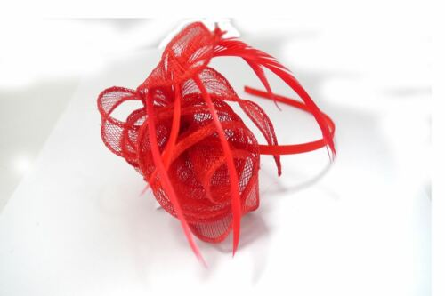 Coiled Looped Sinamay Rose /& Feathers Fascinator Satin Alice band Weddings Races