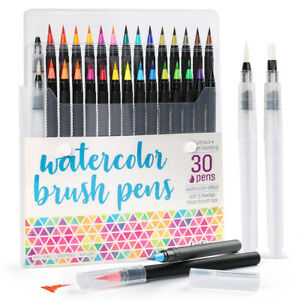 30PCS Watercolor Paint Brush Pens Markers for Water Color Calligraphy Lettering