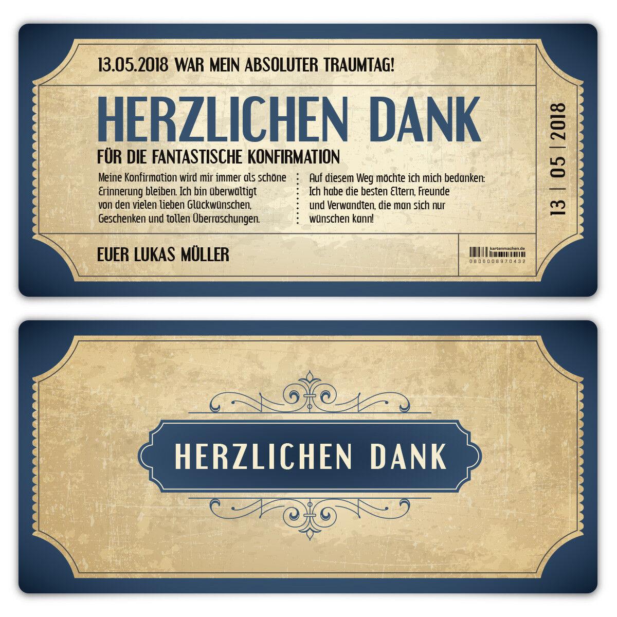 Konfirmation Dankeskarten Danksagungskarten Konfirmationskarten  - Vintage Blau   | eine große Vielfalt  | Nicht so teuer