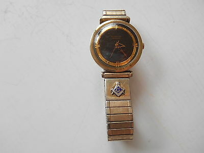 Vintage Wittnauer Automatic 17 Jewel 11 ARG 10K GF Watch w/ Masonic Lodge Emblem