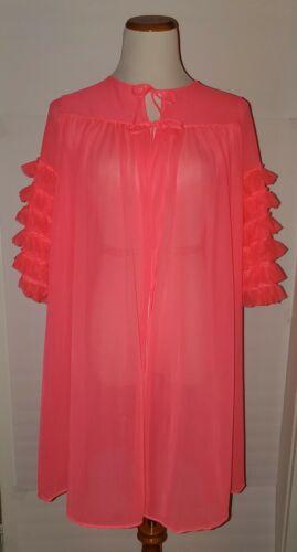 Vtg 60s Pink Nightgown Robe Peignoir Negligee Ruff