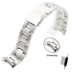 Stainless-Steel-Solid-Links-Watch-Band-Strap-Bracelet-Curved-End-18-20-22-24mm