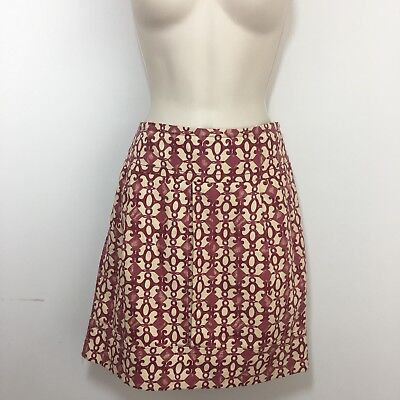 Tracy Reese Pleated Front Straight Skirt Linen/cotton Red And Cream Size 6 Women's Clothing