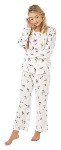 Ladies Super Soft Cosy Leaf Design Fleece Pyjama Set Sizes 8//10-24//26.