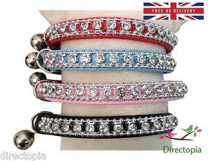 UK-Standard-Safety-Cat-Collar-Crystal-Diamante-Rhinestone-Safety-Elastic-amp-Bell