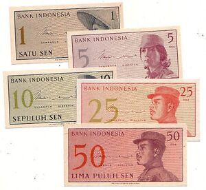 Indonesia-1-5-10-25-50-sen-1964-FDS-UNC-pick-90-91-92-93-94-Lotto-3743