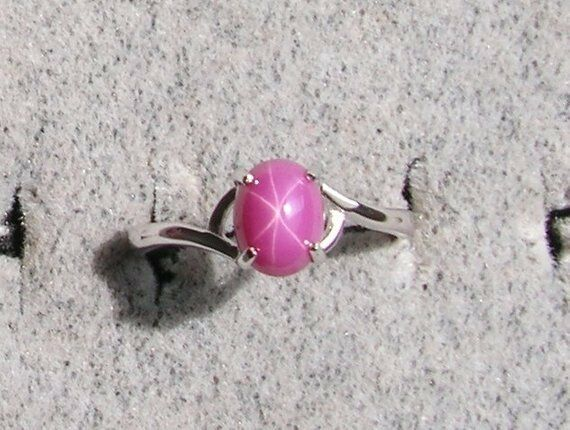 8X6mm VINTAGE LINDE LINDY PINK STAR RUBY CREATED SAPPHIRE RING RHOD PLATE 925 SS