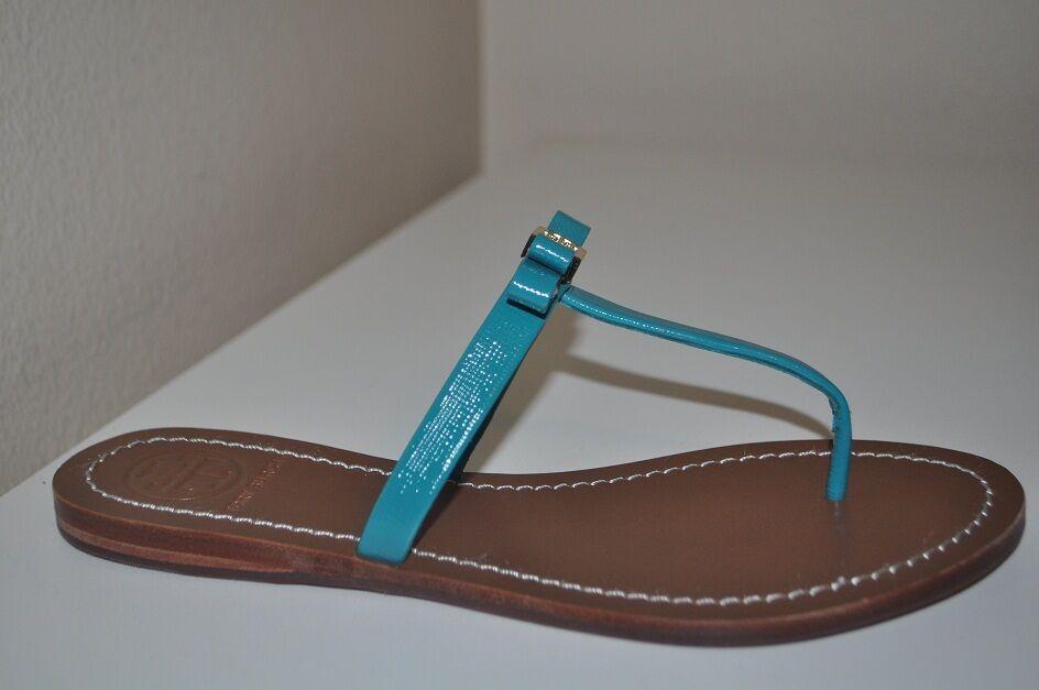 NWOT 8.5 Tory Burch Leighanne Thong Sandal Aquarius Aqua Aqua Aqua Green blueE BOW shoes 6a1c49