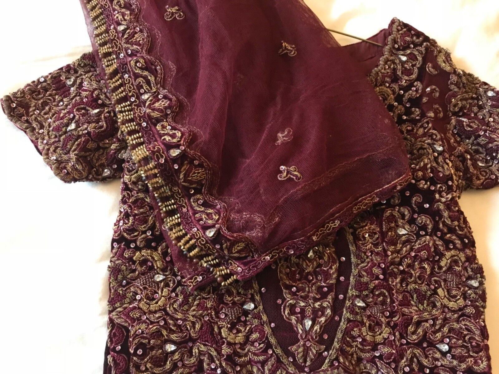 Wedding Party wear heavy embroidery lengha choli REDUCED  beads crystals