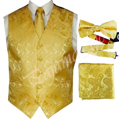 GOLD XS to 6XL Paisley Tuxedo Dress Vest Waistcoat /& Neck tie /& Bowtie And Hanky