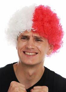 Perruque-Carnaval-Afro-de-Fan-Football-Blanc-Rouge-Moitie-Divise