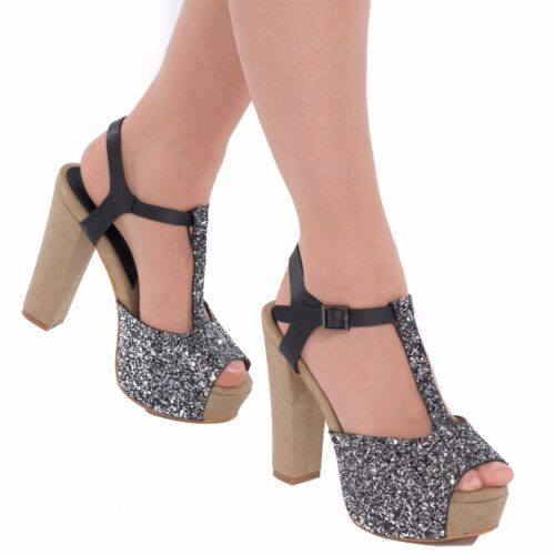Nouveau Femme Femmes Barre En T Talon Haut Bout Ouvert Paillettes Sandales Chaussures Mariage Taille UK