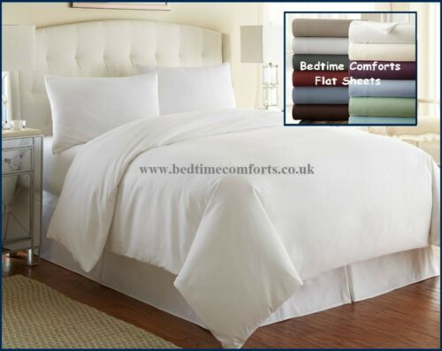 "90/"" X 122/"" DOUBLE Hotel Quality 4/' 6/"" Bed FLAT Sheet EXTRA WIDE 20 COLOURS"