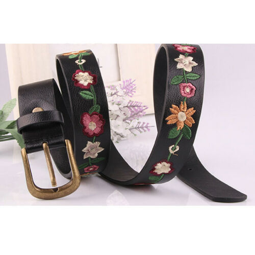 Female Belt Faux Leather Buckle Waistband Embroidered Floral Dress Decoration 6A
