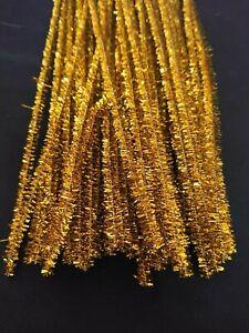 50-x-decorazioni-in-oro-metallizzato-Jumbo-Craft-PIPE-CLEANERS-CINIGLIA-STELI-30cm-x-6mm