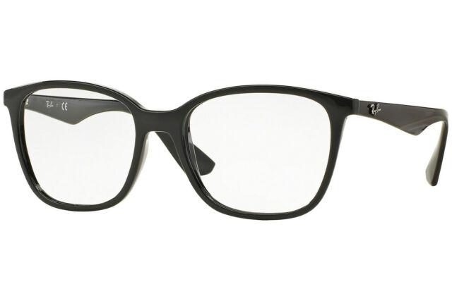 f6748deb10dd8 Ray Ban Men Women Eyeglasses Square RX7066 2000 52 Black Frame   Demo Lenses
