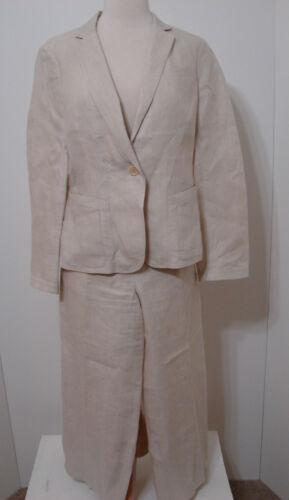 Donna Karan DKNY Pant Suit & Jacket Cream 100% Li… - image 1