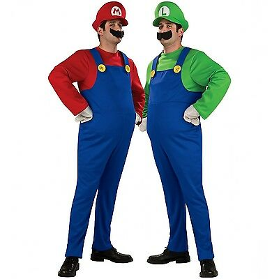 SUPER MARIO LUIGI BROTHERS PLUMBER ADULT MENS COSTUME + HAT & MOUSTACHE SMALL-XL