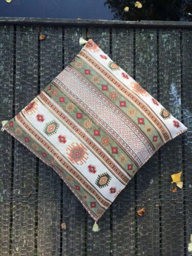 Big Cushion Cover Pale Green Kilim Patterned Floor Cushion Ethnic Bohemian