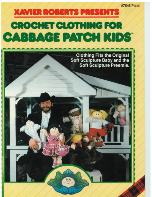 Vtg Crochet Patterns For Cpk Cabbage Patch Doll Clothes Free
