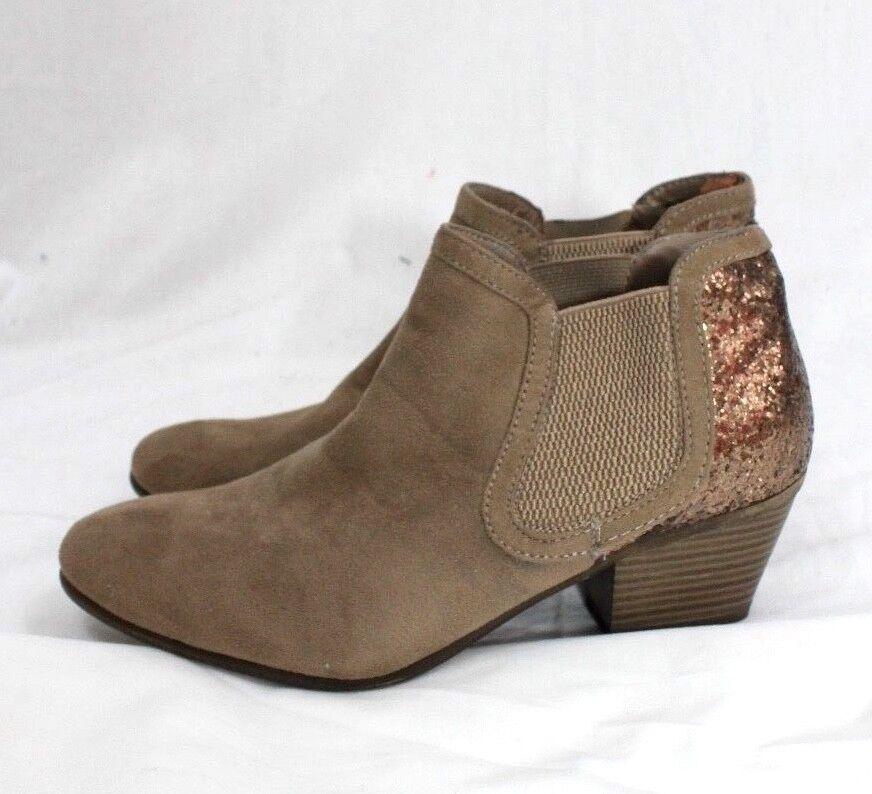 Graceland Womens 40 9 Boots sequin bling heel detail stretch side booties heels