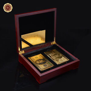 WR-Set-Of-24K-Gold-Plated-Playing-Cards-Poker-Golden-amp-Color-100-Deck-Gift-Box
