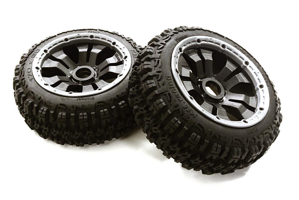 OBM-1651 Type 66069-110 davanti rueda &  Tire Set (2) for HPI 1 5 Baja 5B & 5B2.0  spedizione veloce a te