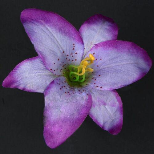 5 x Lily Violet Fleurs de têtes 12 cm Art Fleurs-Soie Fleurs