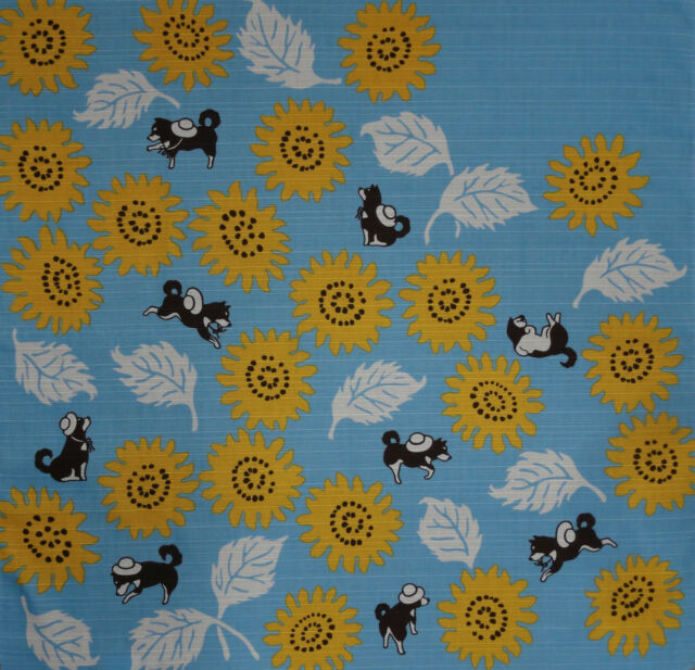 Furoshiki Wrapping Cloth Japanese Fabric Shiba Inu Dogs & Sunflowers Cotton 50cm