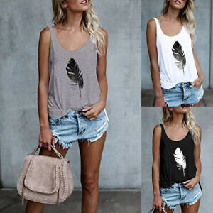 Womens-Ladies-Vest-Basic-Summer-T-Shirt-Holiday-Blouse-Cami-Loose-Feather-Tops