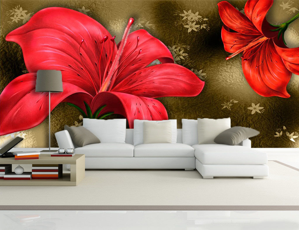 3D fiori rossi 45 Parete Murale Foto Carta da parati immagine sfondo muro stampa