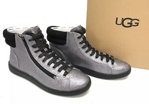 b075eff1717 Details about UGG Australia OLIVE Glitter Boot Gunmetal High Tops Lace Up  Side Zip 1096940