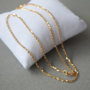 New Pure 18K Yellow Gold Fine 1.7mm Bead with O Link Chain Necklace 17.7 INCH