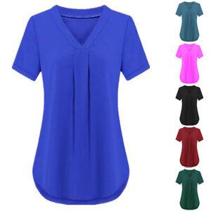 Women-Vneck-Short-Sleeve-Tunic-Tops-Long-Blouse-Loose-T-Shirt-Polyester-Plus-6XL